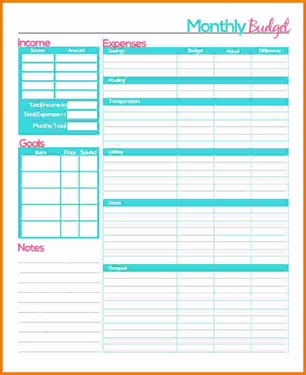 Free Monthly Expenses Template Luxury 4 Bud Planner Free