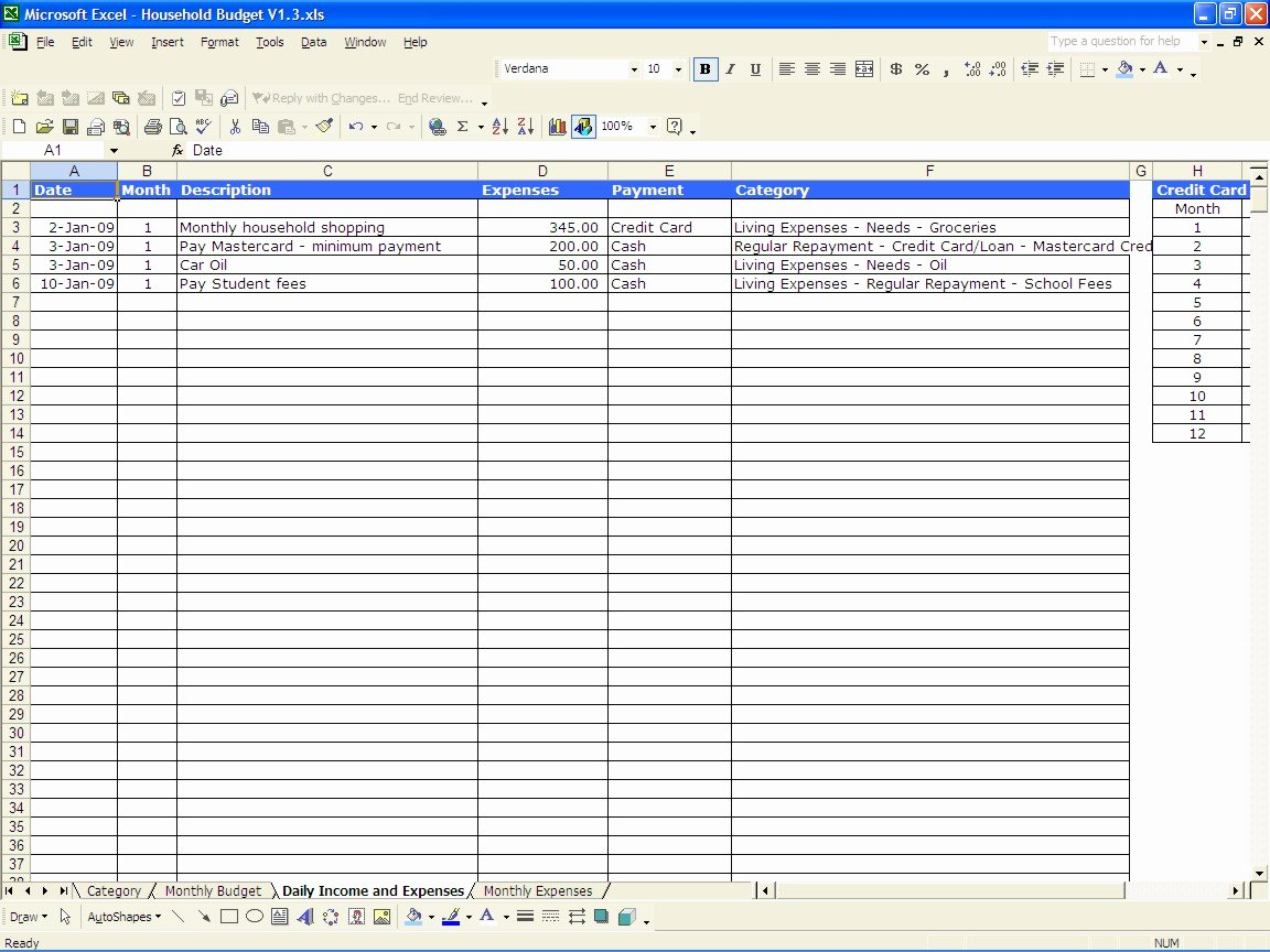 Free Monthly Expenses Template Luxury Daily In E and Expenditure Excel Sheet Excel
