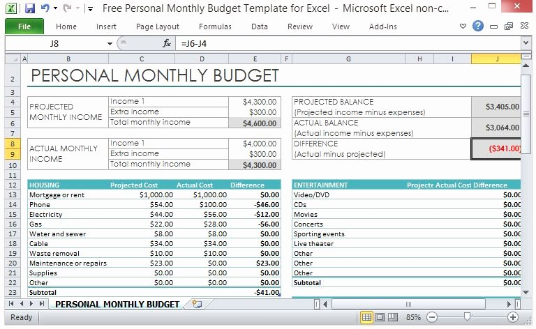 Free Monthly Expenses Template Luxury Free Personal Monthly Bud Template for Excel