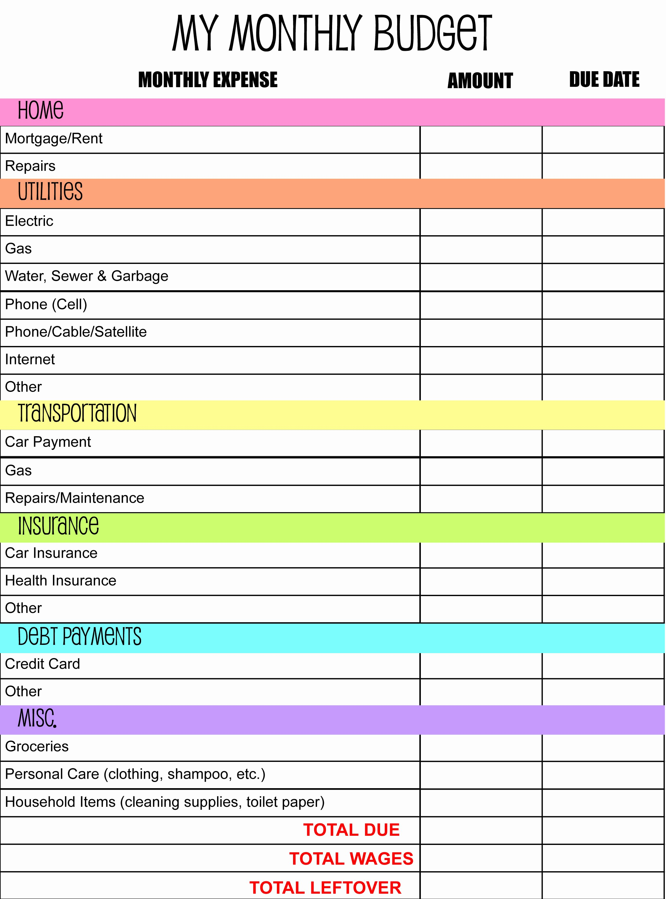 Free Monthly Expenses Template Unique Monthly Bud Planner Template