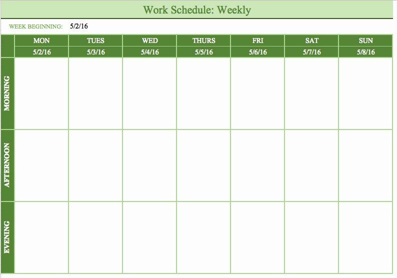 Free Monthly Work Schedule Template Beautiful Bi Weekly Schedule Template
