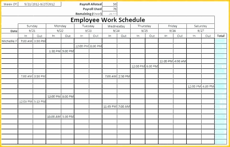 Free Monthly Work Schedule Template Best Of Work Schedule Template Employee Free Monthly Excel