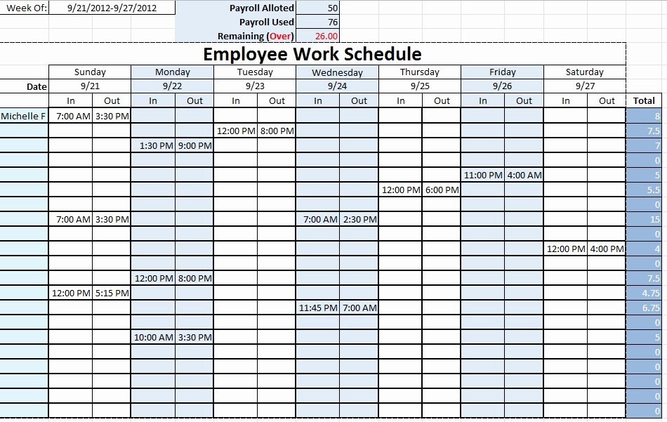 Free Monthly Work Schedule Template Lovely Weekly Employee Schedule Template Excel