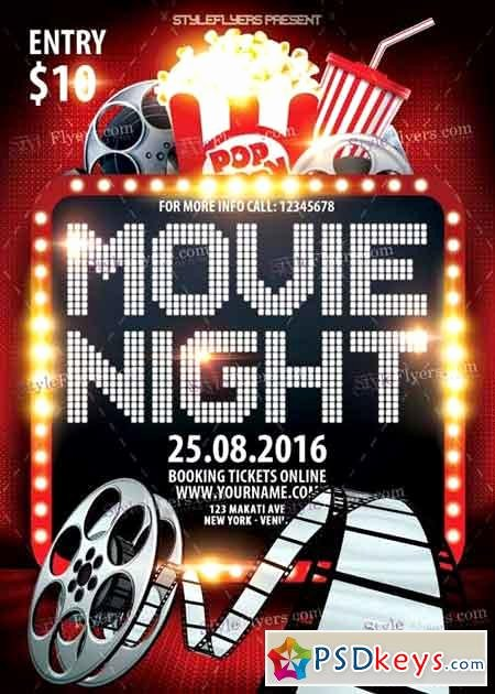 Free Movie Night Flyer Template Beautiful Movie Night Psd Flyer Template Free Download Shop