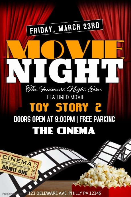 Free Movie Night Flyer Template Beautiful Movie Night Template