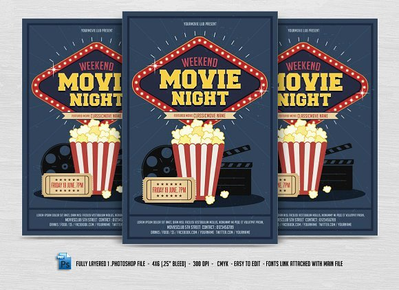 Free Movie Night Flyer Template Best Of Movie Night Flyer Flyer Templates Creative Market