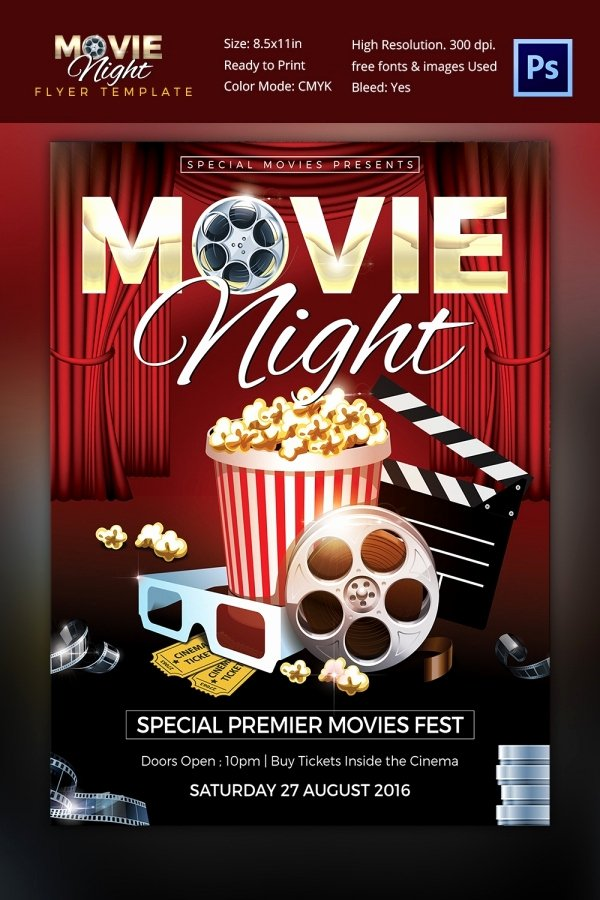 Free Movie Night Flyer Template Best Of Movie Night Flyer Template 25 Free Jpg Psd format