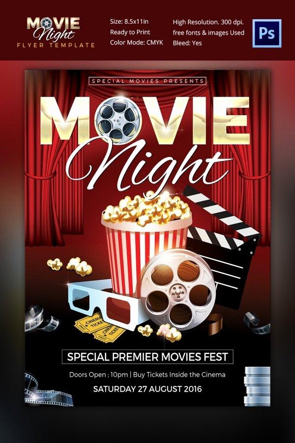 Free Movie Night Flyer Template Best Of Movie Night Flyer Template 25 Free Jpg Psd format