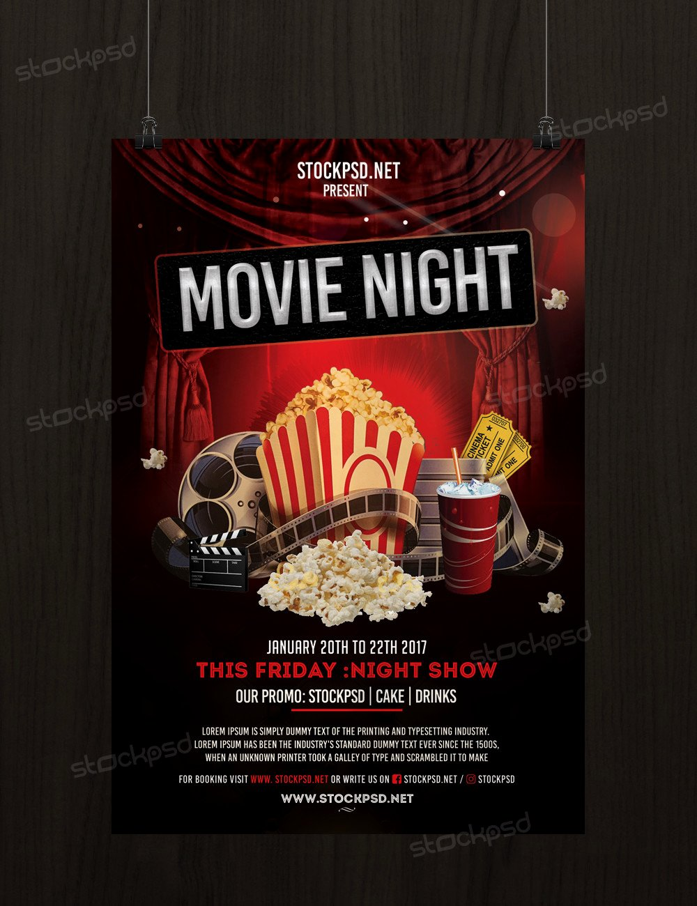 Free Movie Night Flyer Template Elegant Movie Night Free Psd Flyer Template Stockpsd