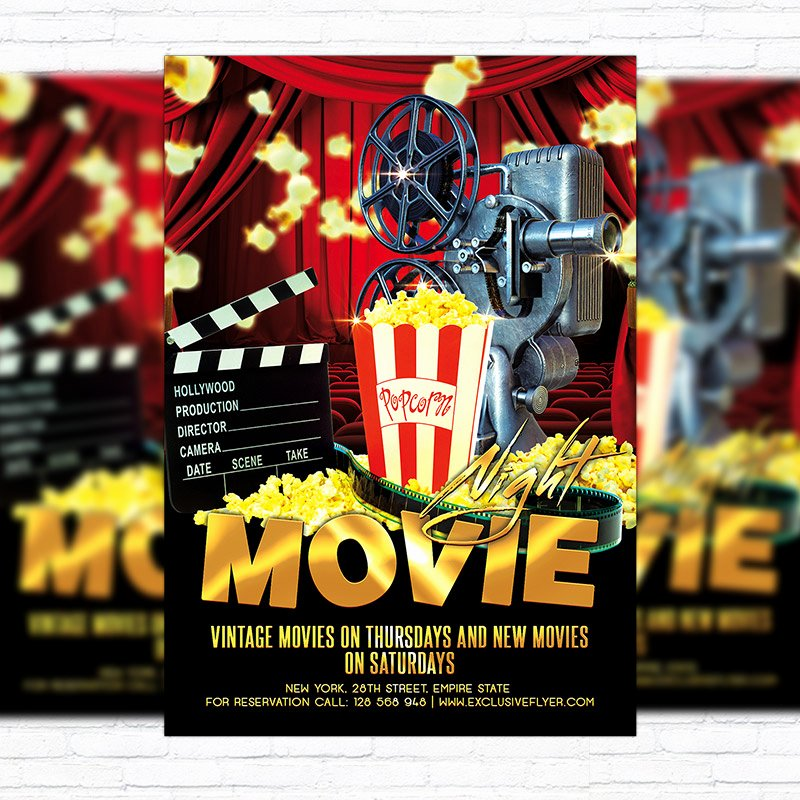 Free Movie Night Flyer Template Fresh Movie Night – Premium Flyer Template Cover