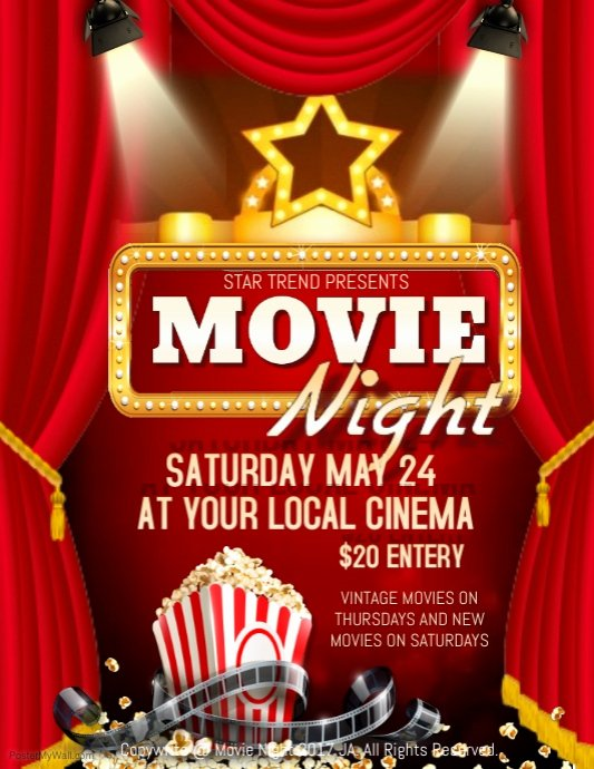 Free Movie Night Flyer Template Fresh Movie Night Template