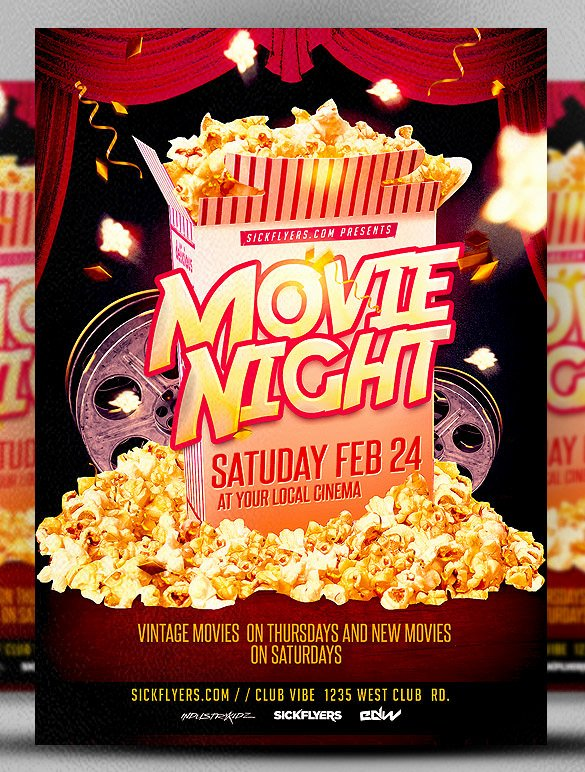 Free Movie Night Flyer Template Inspirational Movie Night Flyer Template 20 Free Jpg Psd format