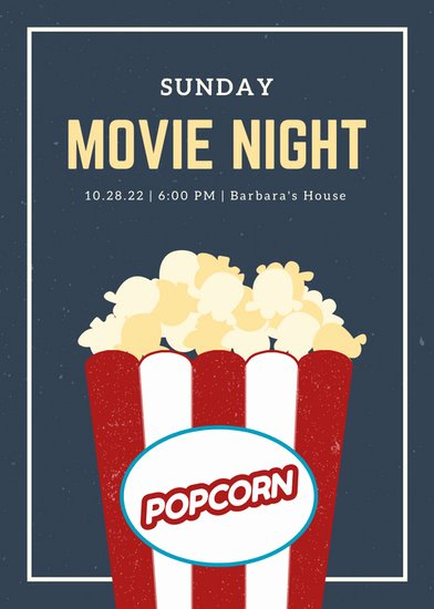 Free Movie Night Flyer Template Lovely Blue and Cream Grungy Popcorn Movie Night Flyer