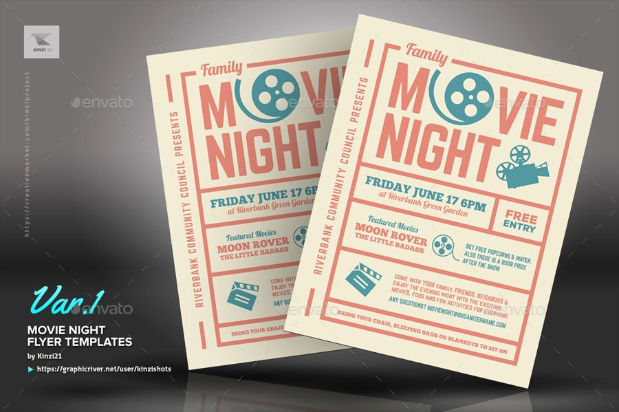 Free Movie Night Flyer Template Lovely Movie Night Flyer Templates by Kinzishots