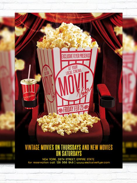 Free Movie Night Flyer Template Lovely Movie Night – Premium Psd Flyer Template