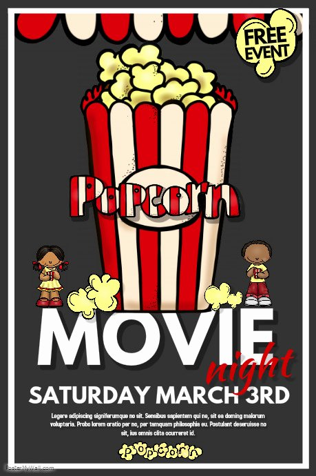 Free Movie Night Flyer Template Lovely Movie Night Template