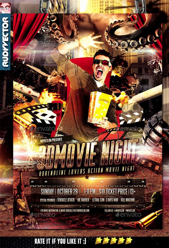 Free Movie Night Flyer Template Luxury 19 Movie Night Flyer Templates Ai Psd Word