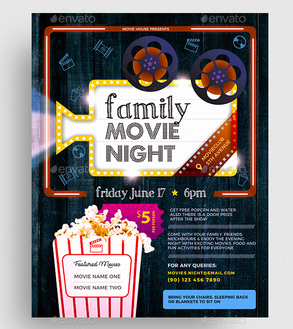 Free Movie Night Flyer Template Unique 15 Movie Flyer Designs & Templates Psd Word Publisher