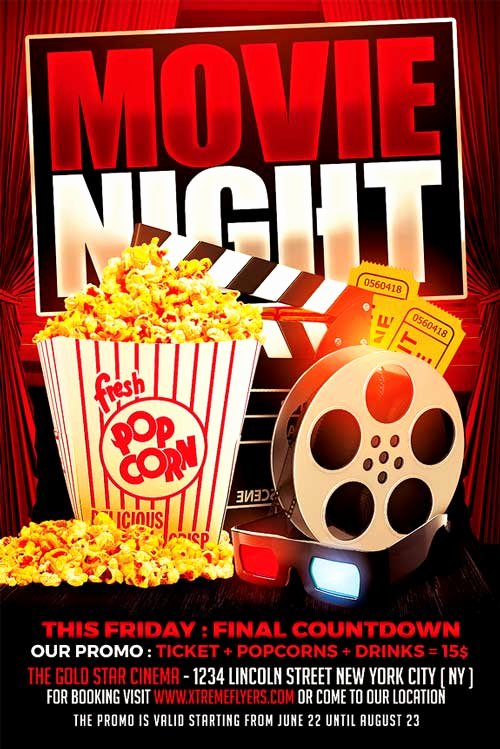 Free Movie Night Flyer Template Unique Movie Night Flyer Template Xtremeflyers