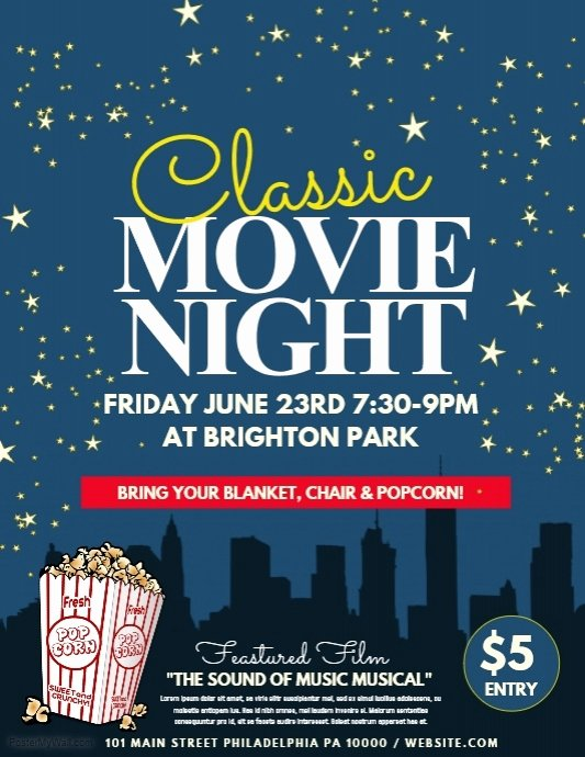 Free Movie Night Flyer Template Unique Movie Night Template