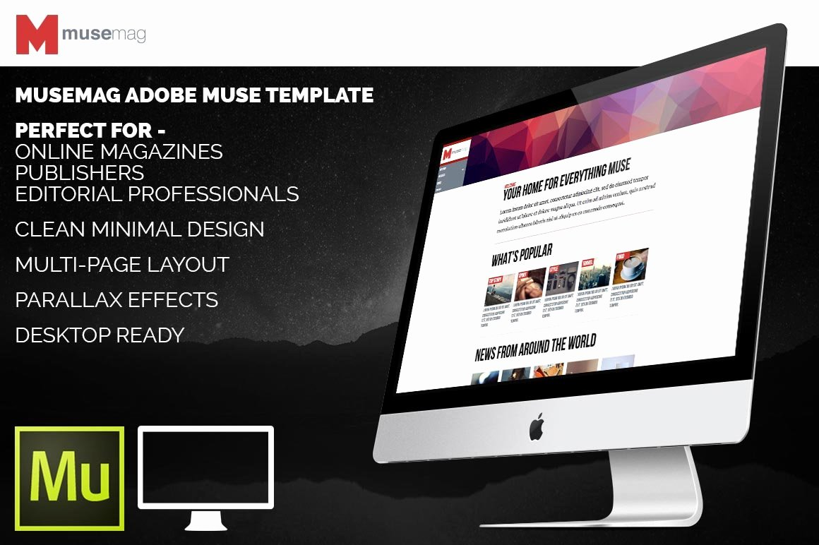 Free Muse Website Template Elegant Musemag Adobe Muse Template Website Templates
