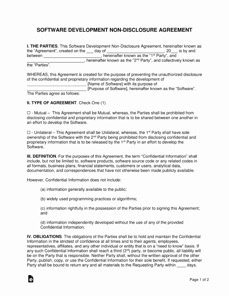 Free Nda Template Word Best Of software Development Non Disclosure Agreement Nda