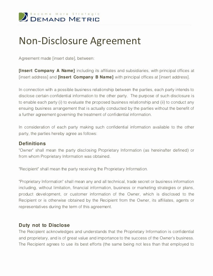 Free Nda Template Word Elegant Non Disclosure Agreement Template