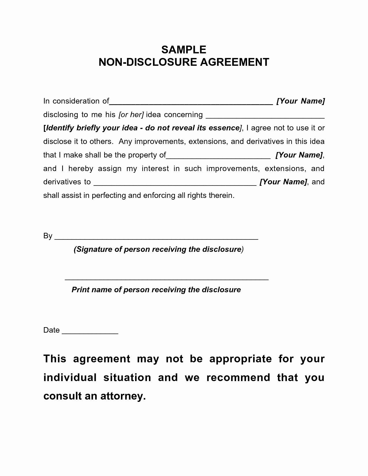 Free Nda Template Word Lovely 12 Best Of Simple Non Disclosure Agreement Pdf