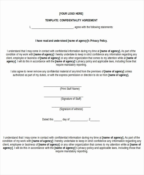 Free Nda Template Word Luxury Free Non Disclosure Agreement form – 10 Free Word Pdf
