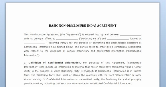 Free Nda Template Word New Non Disclosure Agreement