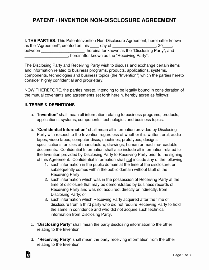 Free Nda Template Word Unique Patent Invention Non Disclosure Agreement Nda Template