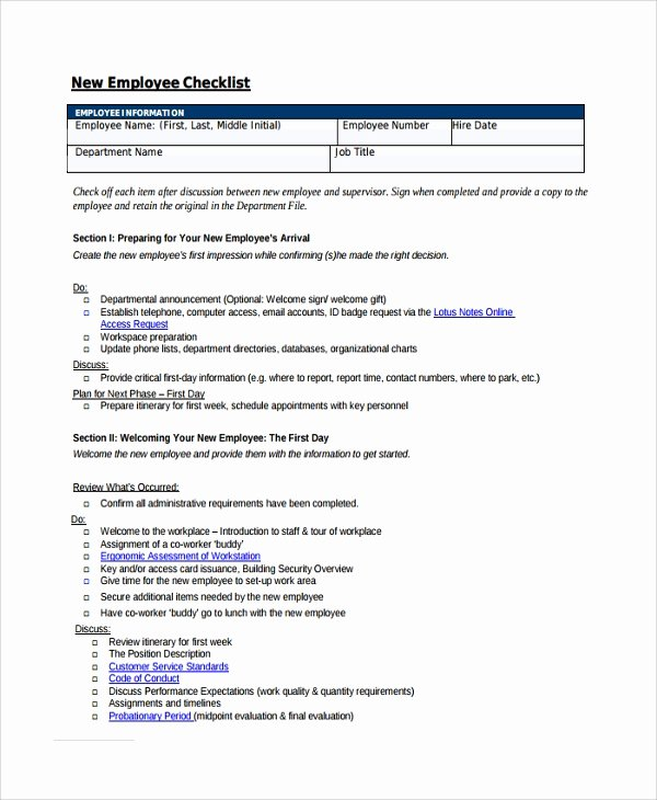 Free New Hire Checklist Template Awesome 16 New Employee Checklist Templates