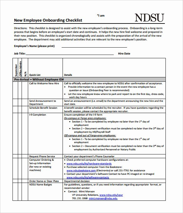 Free New Hire Checklist Template Best Of New Hire Checklist Template 11 Download Documents In