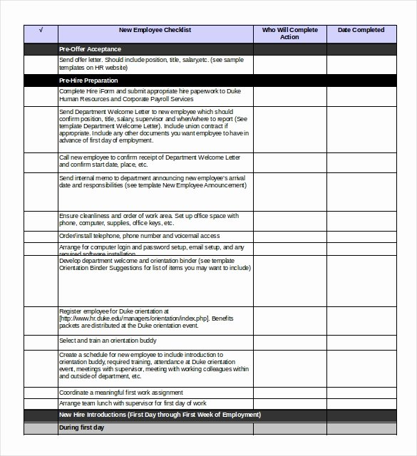 Free New Hire Checklist Template Inspirational Boarding Checklist Template – 15 Free Word Excel Pdf