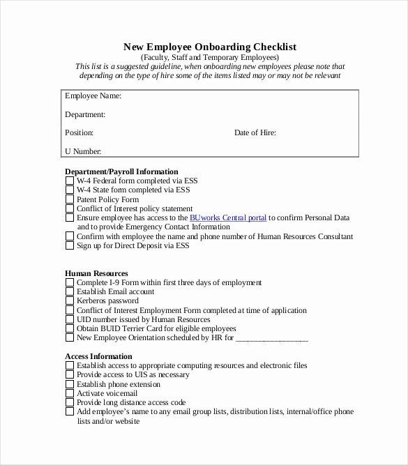 Free New Hire Checklist Template New Boarding Checklist Template – 15 Free Word Excel Pdf
