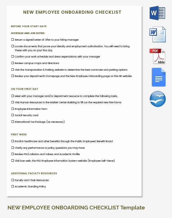 Free New Hire Checklist Template Unique 30 Hr Checklist Templates Free Sample Example format