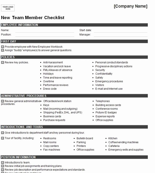 "Free New Hire Checklist Template Unique Search Results for ""free Printable New Hire forms"