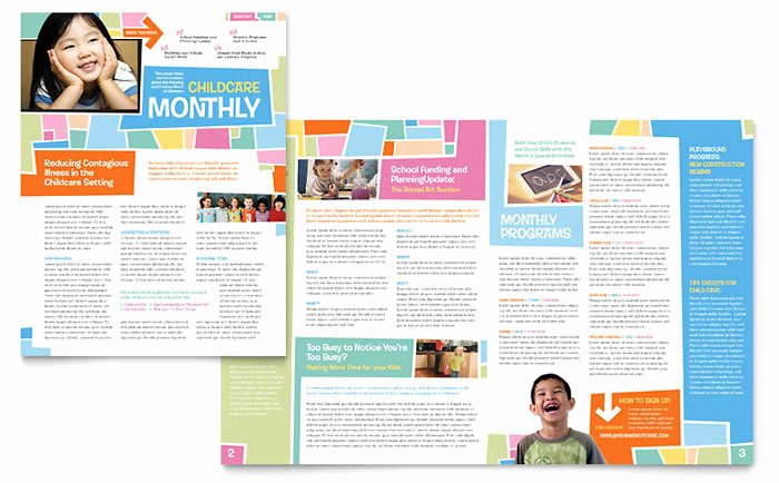 Free Newsletter Template for Publisher Elegant Preschool Kids & Day Care Newsletter Template Design