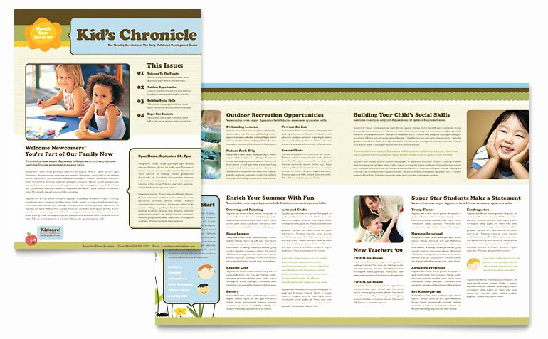 Free Newsletter Template for Publisher Lovely Child Development School Newsletter Template Word