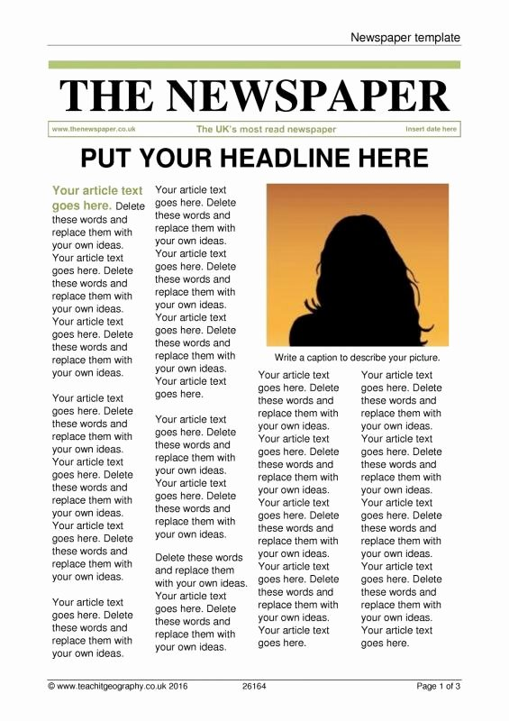 Free Newspaper Article Template Best Of Newspaper Article Template