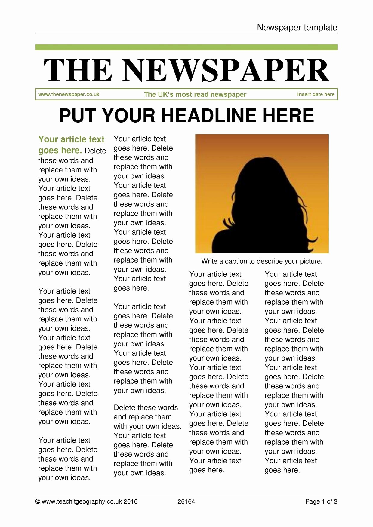 Free Newspaper Article Template Elegant Newspaper Template