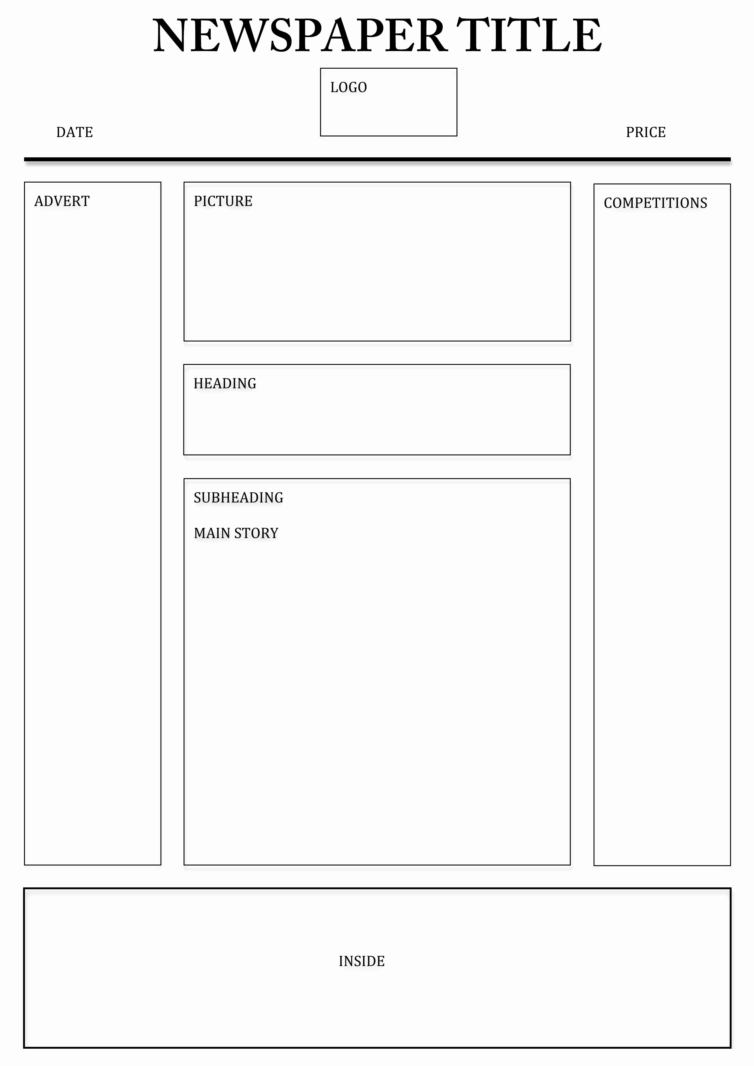 Free Newspaper Template for Students Awesome Newspaper Front Page Layout Template