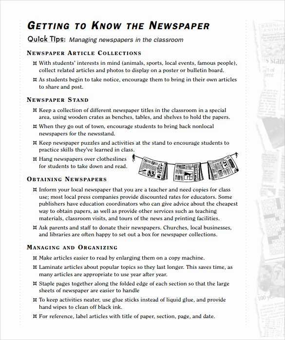 Free Newspaper Template for Students Lovely 7 Newspaper Templates for Kids for Free Download