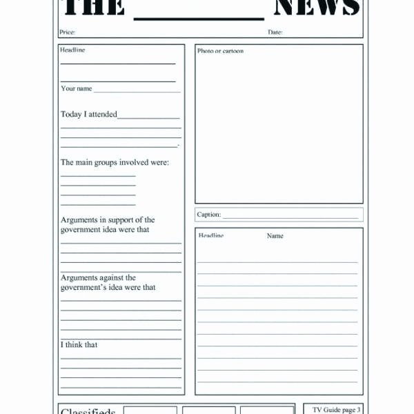 Free Newspaper Template for Students Luxury Free Newspaper Template for Kids Best Printable