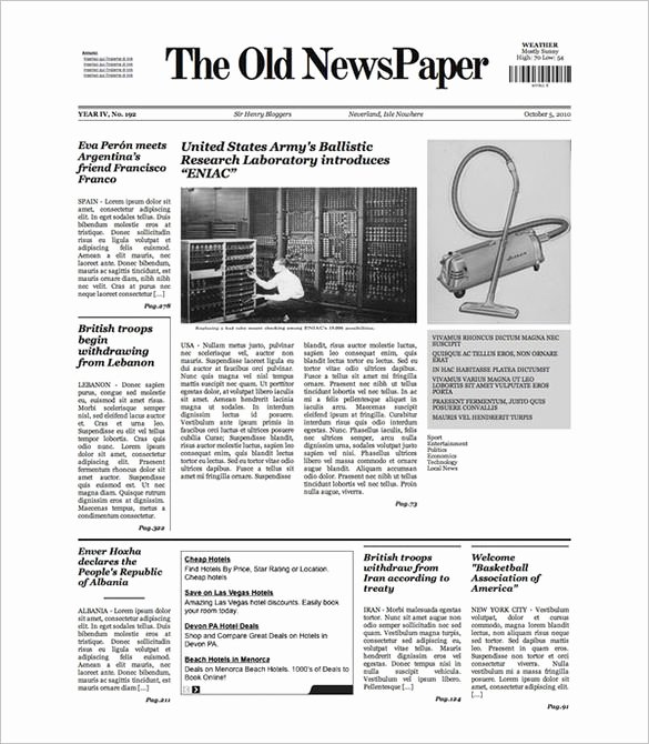 Free Newspaper Template for Students New Sample Old Newspaper Template 11 Documents In Pdf Psd