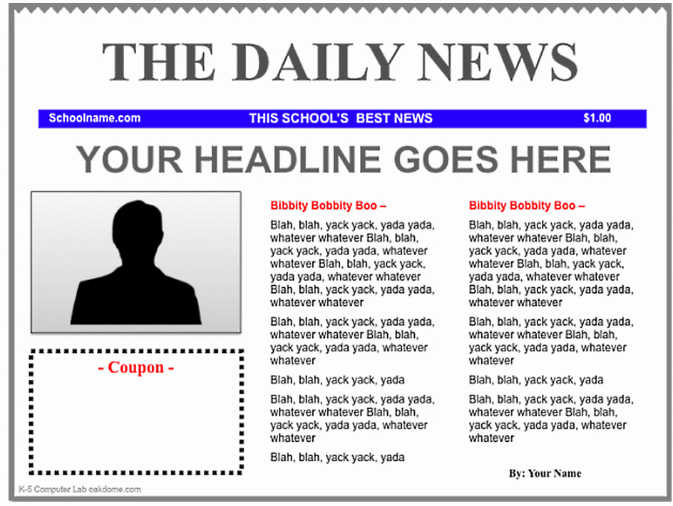 Free Newspaper Template for Students Unique Free Newspaper Template