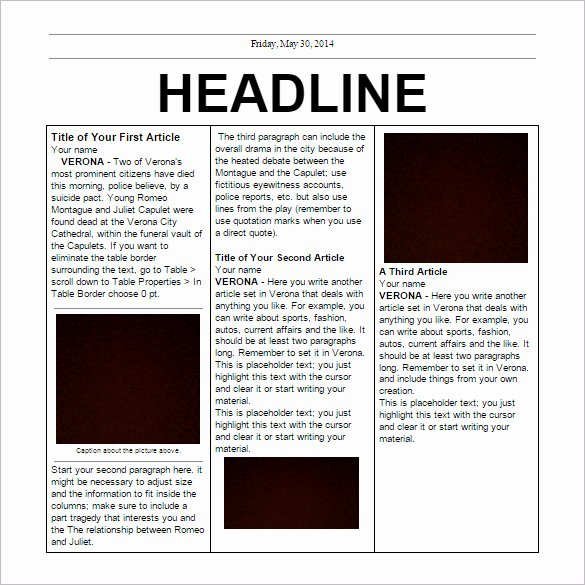 Free Newspaper Template for Students Unique School Newspaper Templates – 11 Free Eps Documents