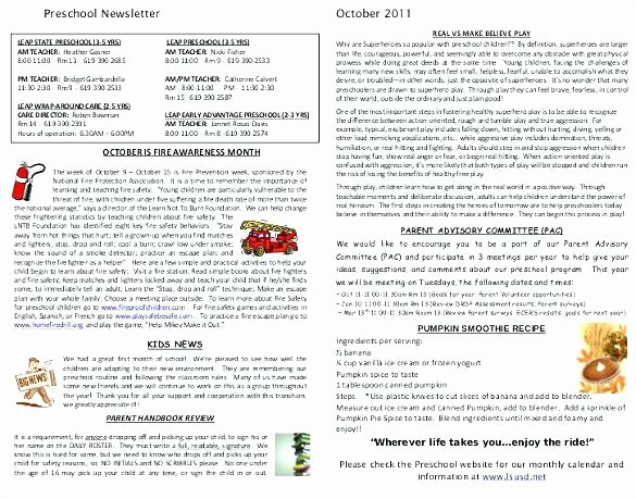 Free October Newsletter Template Awesome Editable Monthly Newsletter Template Preschool the Crafty