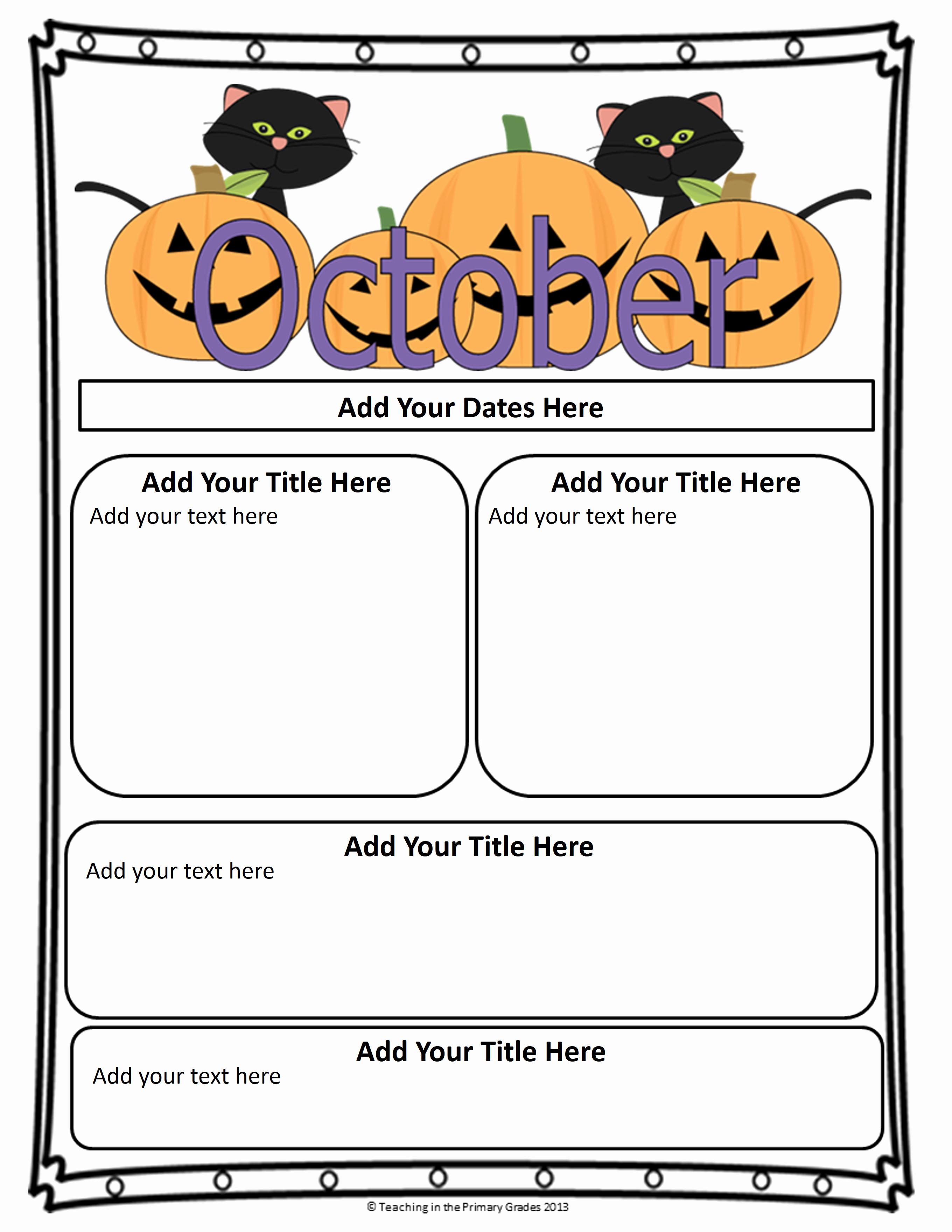 Free October Newsletter Template Elegant Classroom Newsletter Templates
