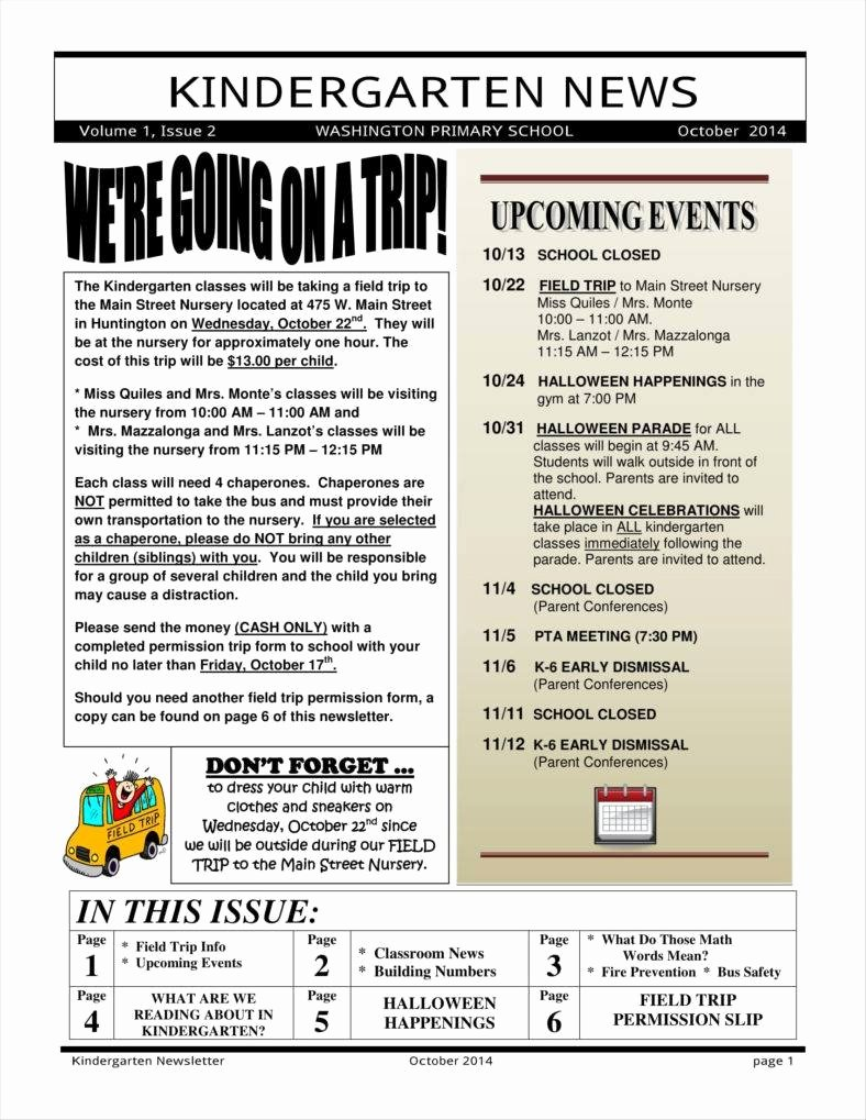 Free October Newsletter Template Inspirational 9 Kindergarten Newsletter Templates Free Samples